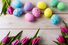 Easter background with multicolored eggs Royalty Free Stock Photo