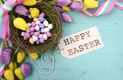 Easter background with painted Easter eggs in birds nest. Happy Easter background with painted Easter eggs in birds nest, and yellow and purple silk tulips and Stock Photos