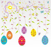 Easter background with painted eggs, Royalty Free Stock Photo