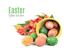 Easter background with painted eggs and tulips Royalty Free Stock Photo