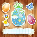 Easter background with paper elements and copy space Stock Photo