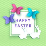 Easter background with  papercut  colorful  butterfly and  bunny. Happy easter background with  papercut  colorful  butterfly and  bunny. Spring. Vector flat Royalty Free Stock Images