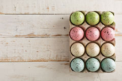 Easter background with pastel colorful eggs Royalty Free Stock Photos