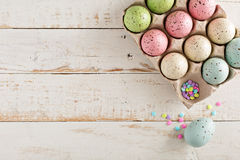 Easter background with pastel colorful eggs Stock Photo