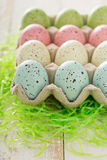 Easter background with pastel colorful eggs Royalty Free Stock Photo