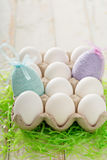 Easter background with pastel colorful eggs Stock Photography