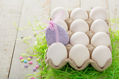Easter background with pastel colorful eggs Stock Image