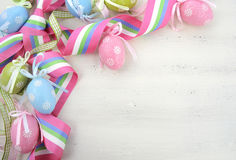 Easter background with pink, blue and green ornament eggs Royalty Free Stock Photography