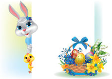 Easter background with rabbit chicken and basket Royalty Free Stock Photo