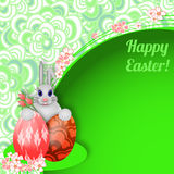 Easter background with rabbit, easter eggs and flowers. Stock Image