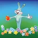Easter background rabbit with egg Stock Photography