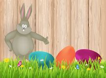Easter background with rabbit and eggs. Vector illustration Royalty Free Stock Photos