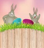 Easter background with rabbit and eggs. Vector illustration Stock Images