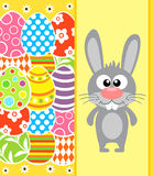 Easter background with rabbit and eggs, yellow Stock Photo