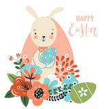 Easter background with rabbit, flowers, eggs Royalty Free Stock Photo