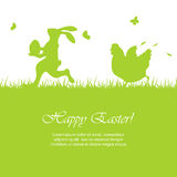 Easter background with rabbit and hen Stock Photography