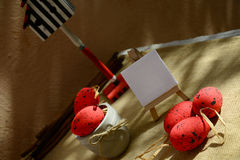 Easter background red eggs natural canvas Royalty Free Stock Images