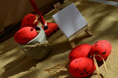Easter background red eggs natural canvas Stock Photo
