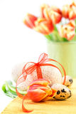 Easter background in red, orange and green Royalty Free Stock Photography