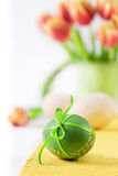 Easter background in red, orange and green Stock Images