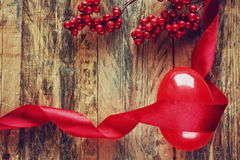 Easter background with red ribbon, decorative egg Stock Photos