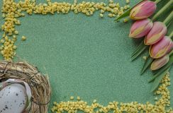 Easter background with red-yellowk tulips and egg on green glitter background with copy space royalty free stock photography
