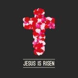 Easter background. He is risen rose petals on black elements. Vector illustration.  Royalty Free Stock Images