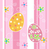 Easter background seamless pattern. Pink Stripped seamless easter background pattern with Colorful painted easter eggs and cute spring flowers Royalty Free Stock Image