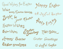 Easter background. Set of easter greetings, hand drawn calligraphic elements Royalty Free Stock Photo