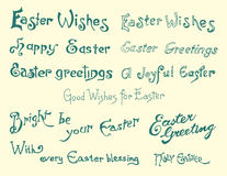 Easter background. Set of easter greetings, hand drawn calligraphic elements Stock Photo