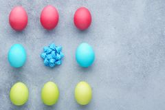 Easter background with set of painted eggs and bow stock photo