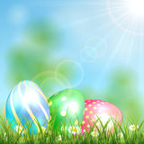 Easter background with shiny eggs Stock Image