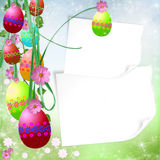 Easter background. Spring or Easter background with Colorful easter eggs and flowers  hanging on ribbons Stock Images
