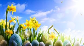 Art Easter background; Spring flowers and easter eggs Stock Photos