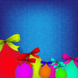 Easter background with stiched eggs Royalty Free Stock Photo