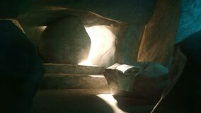 Easter Background - The Stone Is Rolling From Jesus` Tomb, 3d rendering