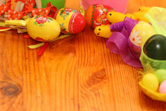 Easter background. Background on an easter subject from eggs, chickens, hens, tapes Royalty Free Stock Image