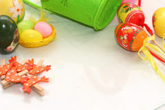 Easter background. Background on an easter subject from eggs, chickens, hens, tapes Royalty Free Stock Photos