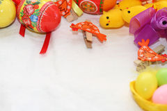 Easter background. Background on an easter subject from eggs, chickens, hens, tapes Stock Photo