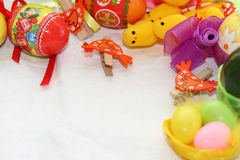 Easter background. Background on an easter subject from eggs, chickens, hens, tapes Stock Image