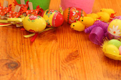 Easter background. Background on an easter subject from eggs, chickens, hens, tapes Stock Photos