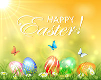 Easter background with Sun and eggs in grass Royalty Free Stock Photography