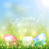 Easter background with three colorful eggs Stock Photography