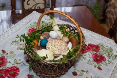 Basket with Easter cake Stock Photo
