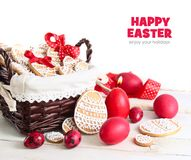 Easter cake and colorful eggs on a wooden background Royalty Free Stock Photos