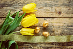 Easter background with tulips, three golden eggs Stock Photo