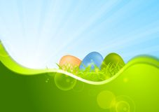 Easter background with wave and sunshine Stock Photos