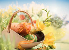 Easter Background With Egg And Spring Flowers On Abstract Spring Stock Photo