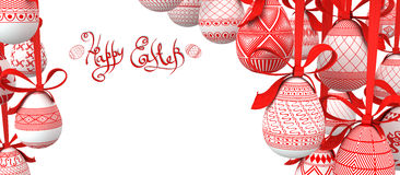 Easter Background With Egg On Ribbon Stock Photo