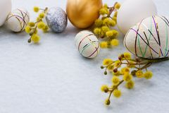Easter Background With Pussy-willow And Eggs. Stock Image